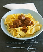 Pappardelle with meatballs and tomato sauce