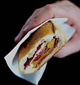 Hand holding panini with pepper, salami and cheese