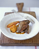 Roast pigeon with mashed sweet potato and pancetta