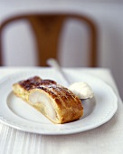 A piece of pear strudel on plate
