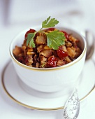 Sweet chestnut salad with pine nuts and glace cherries