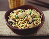 Asian egg noodles with pork and shiitake mushrooms
