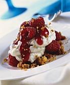 Sweet raspberry quark dessert