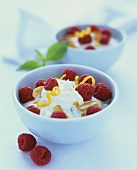 Lemon ricotta cream with raspberries in bowl