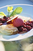 Crepe with raspberry & cassis ice cream & raspberry sauce