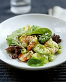 Avocado and shrimp salad with broad beans
