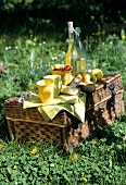 Crockery, bread and fruit on a picnic basket in meadow