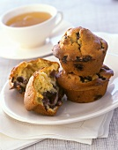 Blueberry muffins and a cup of tea