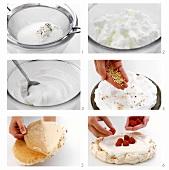 Making meringue gateau with raspberries and nuts