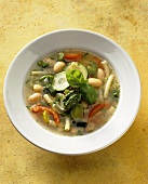 Minestrone alla genovese (vegetable soup with noodles & pesto)