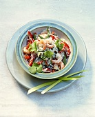Rice noodle salad with shrimps