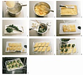 Making polenta slices with spinach
