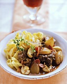 Boeuf bourguignon of ribbon pasta