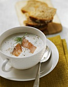 Creamed potato soup with smoked salmon