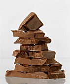 Pieces of Milka chocolate in a pile
