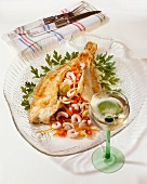 Plaice with vegetable & shrimp stuffing & a glass of wine