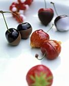 Cherry sweets: glazed cherries and chocolate cherries