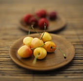 Yellow and red cherries