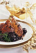 Roast duck with plums and juniper berries