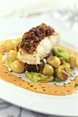 Halibut in red wine & shallot crust, vegetables & lobster sauce