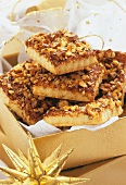Nut slices in Christmassy gift box
