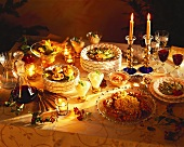 Laid buffet table with dishes for Christmas meal