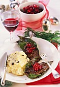 Venison medallions with cranberries & truffled mashed potato