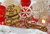 Gingerbread Father Christmas with biscuit sleigh in nut dough