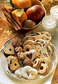 Biscuit plate with Christmas biscuits, sweets, Stollen