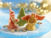 Christmassy marzipan figures on a plate