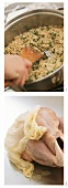 Preparing roast turkey with herb stuffing