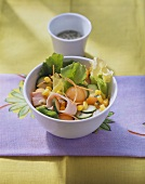 Courgette & melon salad with carrots, sweetcorn & turkey breast