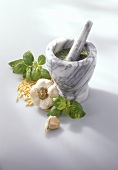 Pesto in mortar, basil, garlic, pine nuts beside it