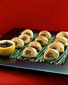 Puff pastry snacks with mince filling