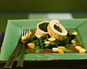 Chicken breast roulades with spinach