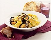Bourride with cod and mussels (Provencal fish stew)