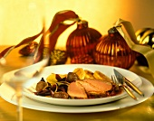 Duck breast with sweet chestnuts & oranges in port sauce
