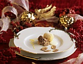 Quark dumplings with chestnut stuffing on Christmassy plate