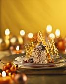 Chestnut mousse with cranberry sauce & caramel lattices