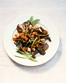 Pan-cooked beef dish with oyster mushrooms