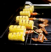Corncobs and chicken wings on the barbecue
