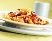 Penne all' arrabiata (Penne with tomato and chili sauce)