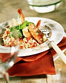 Tomato risotto with jumbo prawns