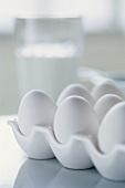 White eggs in an egg holder
