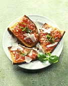 Bruschetta (toasted slices of bread with diced tomatoes)