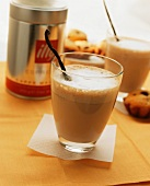 White coffee with vanilla in glass