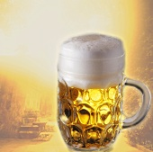 Light beer in tankard in front of summery motif (collage)