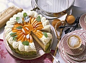 Buckwheat cake with yoghurt mousse and apricots