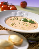 Tomato foam soup with basil