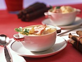 Creamed scorzonera soup with smoked pork rib